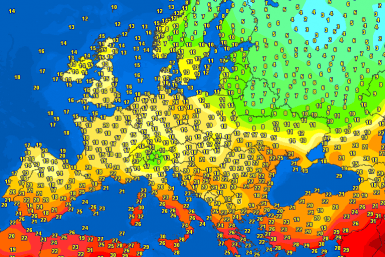 Evening temperatures Europe – Major cities #weather (Temperaturile serii in Europa)