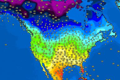 North America temperatures