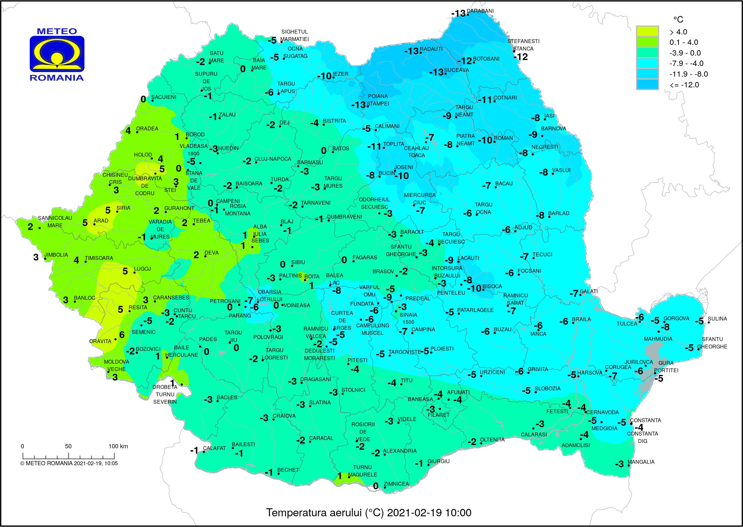 Temperaturile dimineții în România (ora 10) Temperaturi resimțite