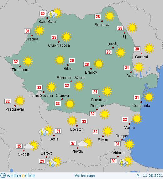 Prognoza meteo Romania 11 August 2021 #Romania #vremea